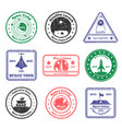 space tour stamps set vector image