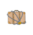 suitcase with chain and lock vector image vector image