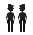 twins together silhouette vector image vector image