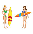 two cartoon girls in bikini with surfing boards vector image vector image
