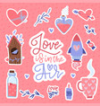 valentines day set stickers with hearts potion vector image