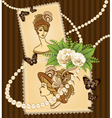 Vintage lady in a dress vector image vector image