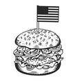 vintage monochrome tasty burger concept vector image vector image