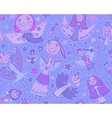 seamless pattern with cute fairies in vector image
