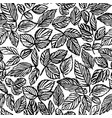 ink hand drawn leaves seamless pattern vector image