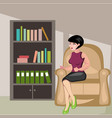 beautiful girl sitting in chair vector image vector image