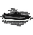 black and gray shoes on a piece on the background vector image