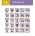 business travel filled outline icon set vector image