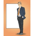 Businessman stays next to blank white board Pop vector image vector image