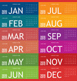 calendar 2019 in colorful vector image