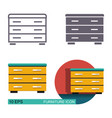 chest of drawers icons vector image vector image