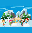 children playing in snow at home vector image vector image