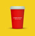 coffee cup in red color vector image