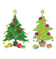 colourful hand drawn christmas trees vector image vector image