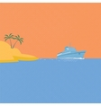 Cruise ship tropical island and blue ocean vector image vector image