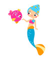 cute mermaid feed fish cartoon vector image
