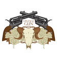 emblem with skull of sheep roses and pistols vector image vector image