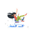 funny young girl rides shopping cart after order vector image vector image