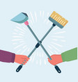 garbage dustpan and brush vector image