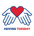 giving tuesday helping hand with heart shape vector image