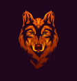 gold wolf head vector image