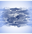 Graphic ocean fish border vector image