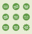 halal food icon set islamic healthy food labels vector image vector image