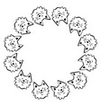 hand drawn cat round frame vector image vector image