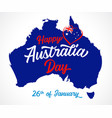 happy australia day calligraphy and map vector image