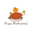 happy thanksgiving with turkey and pumpkins vector image vector image