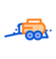 hay pressing trailer vehicle thin line icon vector image vector image