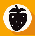 icon strawberry on white circle with a long shadow vector image vector image