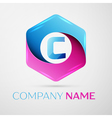 Letter C logo symbol in the colorful hexagonal on vector image vector image