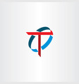 letter t sign logo symbol red blue icon vector image