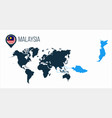 malaysia map located on a world map with flag vector image vector image