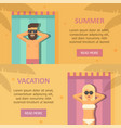 man and woman sunbathing at the beach banners vector image