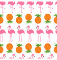 pineapple pink flamingo set seamless pattern vector image vector image