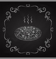 pizza drawn chalk on a blackboard vector image vector image