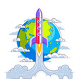 rocket start from earth to space to discover vector image