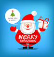 Santa claus merry christmas message with gift box vector image vector image