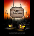 scary halloween background with pumpkins and vector image vector image