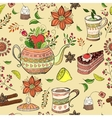 Seamless background with tea hand-drawn elements vector image