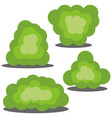set of four different cartoon green bushes vector image vector image