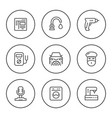 set round line icons of services vector image
