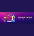 social networks promotion concept banner header vector image vector image