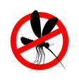 stop mosquito red prohibition sign ban insects vector image