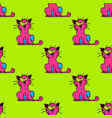 suspicious cat seamless pattern vector image