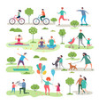 various outdoor activities in the urban park vector image vector image