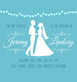 wedding invitation with silhouettes bride vector image vector image