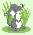 Beautiful cartoon mouse standing on grass and vector image